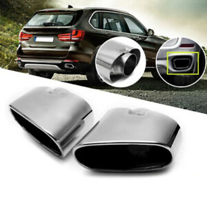 Details about Twin Chrome Exhaust Pipe Muffler Tip Stainless Steel Fits Bmw  X5 E70