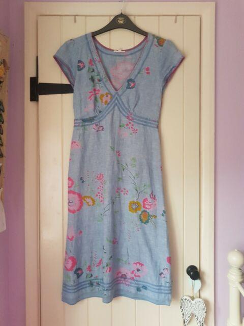 White Stuff Ladies Dress Size 8 Summer Linen Blue Floral excellent condition