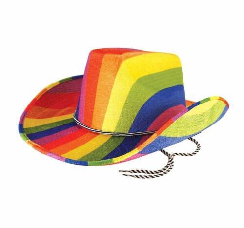 Rainbow Cowboy Hat  Fancy Dress Accessory Colourful Western Gay Pride LGBT