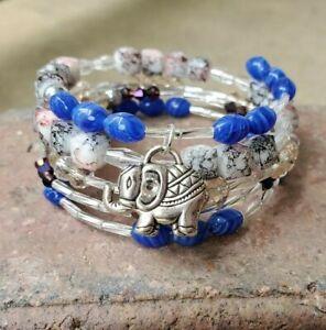 womens handmade unique blue & clear elephant crystal memory wire bracelet.