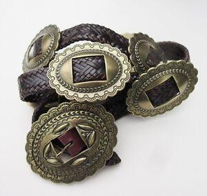 Details about Ralph Lauren Braided Brown Leather Belt Engraved Brass Conchos MINT