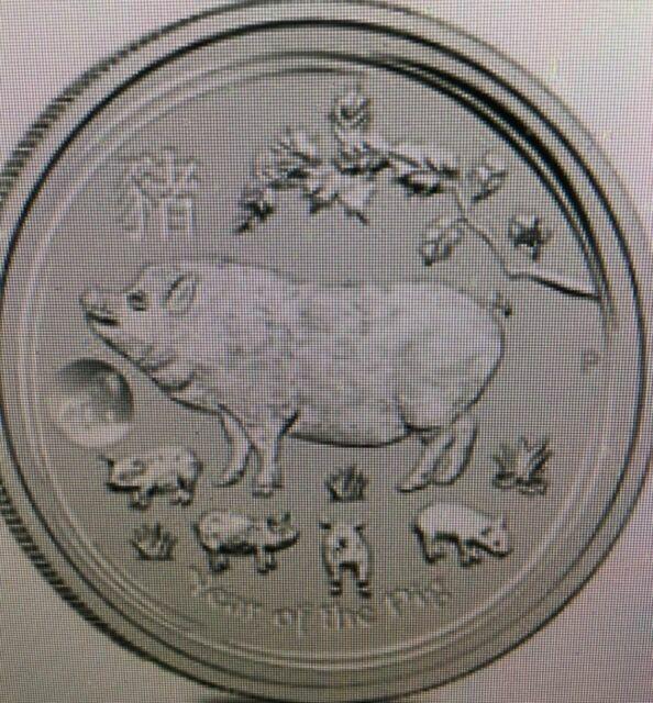 2019 Silver 1 oz  Australian Silver Lunar Series 2 Year of the Pig Lion Privy
