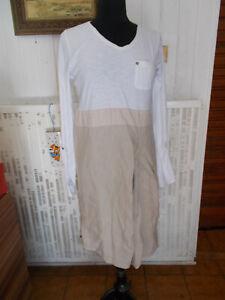 Robe-bi-matieres-haut-coton-blanc-bas-lin-beige-LADY-CAPTAIN-40-12UK