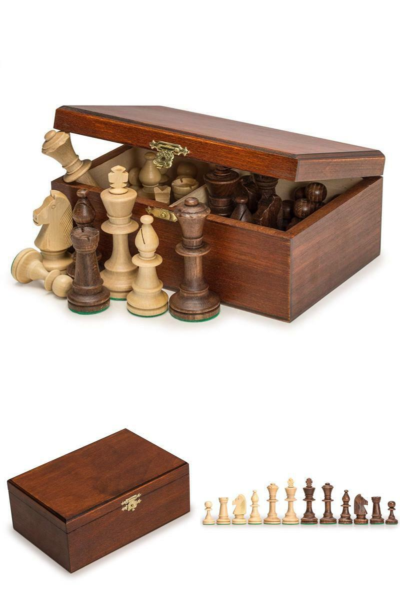 Chess Pieces Set + Wood Box King 3.54  Hand Crafted High Quality