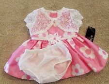 SWEET! NEW BABY GEORGE NEWBORN 3PC PINK DRESS W/BUILT IN BLOOMERS & SWEATER