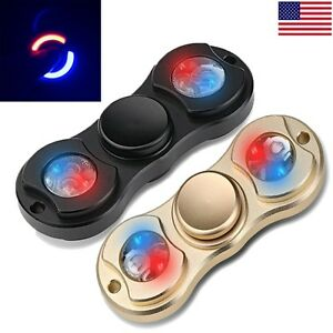 Led Black Gold Edc Hand Finger Fidget Spinner Toy Light Up