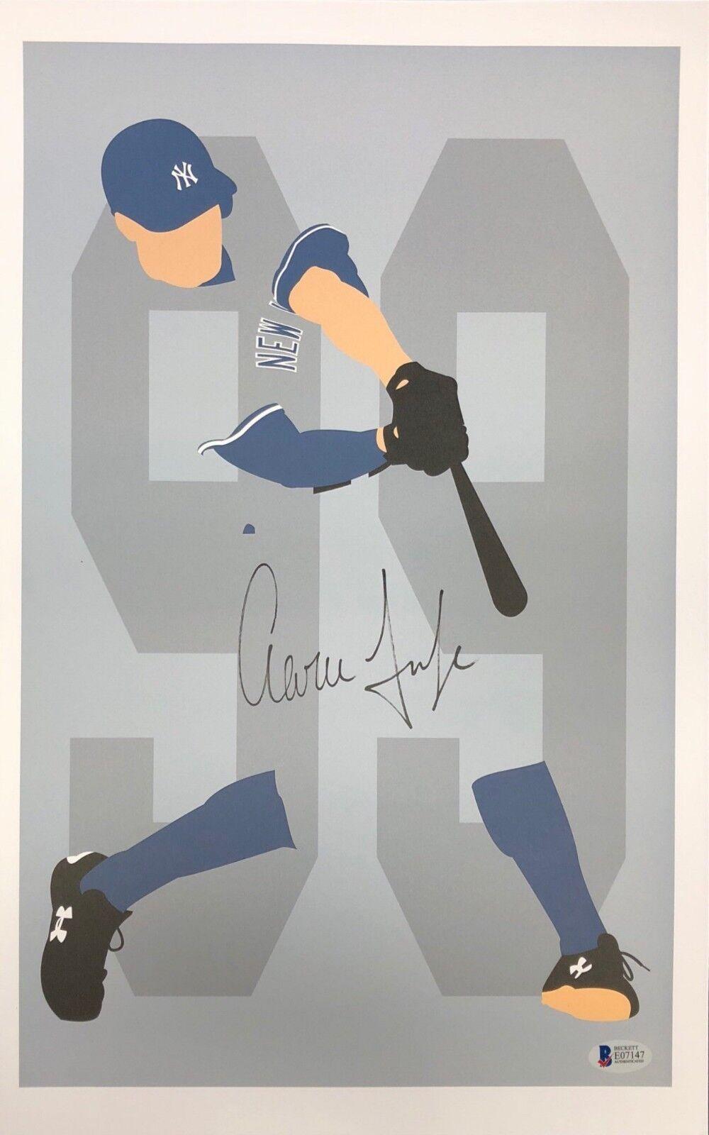 Aaron Judge Signed New York Yankees Baseball 11x17 Print BAS Beckett E07147