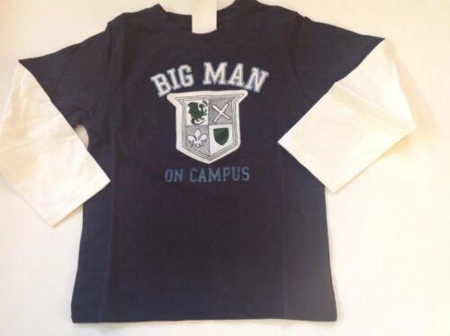 NWT GYMBOREE Boy Blue BIG MAN ON CAMPUS Ivory Long Sleeved Shirt Tee SZ 5 *22