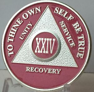 Pink-amp-Silver-Plated-24-Year-AA-Chip-Alcoholics-Anonymous-Medallion-Coin-XXIV