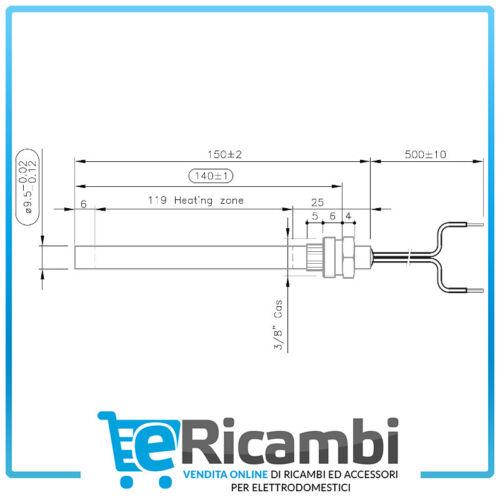 Candeletta Accensione Resistenza 350W Raccordo 3//8 Stufa Pellet9,5X150mm
