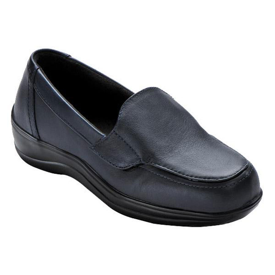 New without Box Orthofeet Astoria Leather Slip-On Strap Loafers Navy Taille 5.5 DW