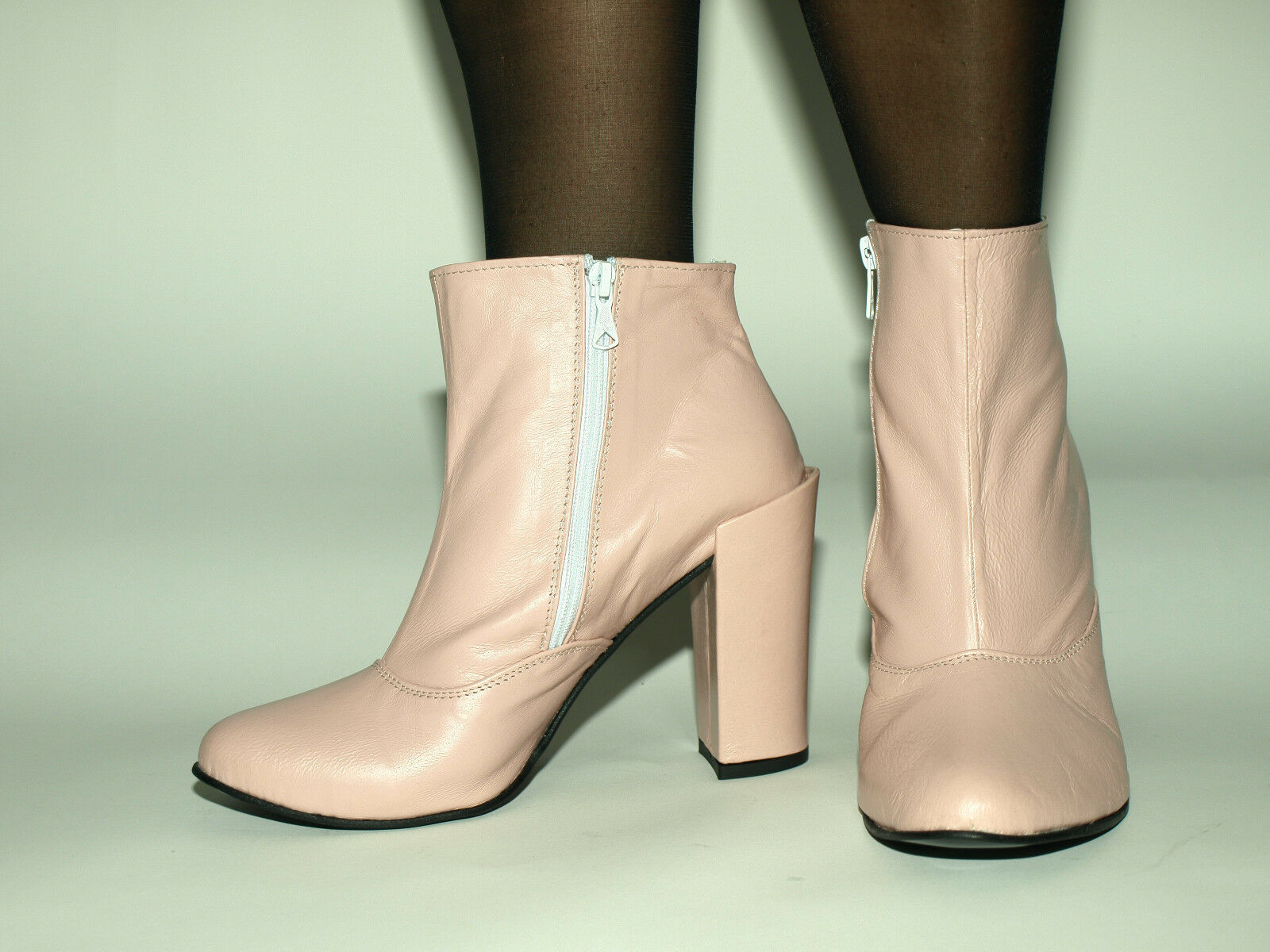 PINK LEATHER 100% HIGHS BOOTS SIZE 6-16 HEELS-4,5