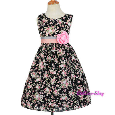 Cotton Black Pink Rose Floral Pattern Flower Girl Summer Party Dress 2-6y SD010