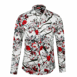 Mens Floral Printed Shirts Button Front Designer Long Sleeve ...