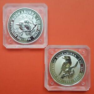 2-coins-x-1994-1995-KOOKABURRA-1-Dollar-SILVER-Plata-ONZA-OZ-Australia-1-UNC