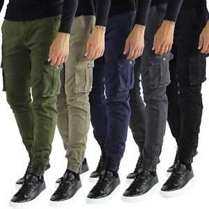 Pantaloni-Cargo-Uomo-Tasche-Laterali-Invernali-Cotone-Slim-Fit-Tasconi-Casual