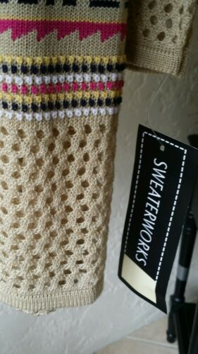 SWEATERWORKS Open Cardigan Sweater Khaki Pink 3//4 Sleeve NWT$68
