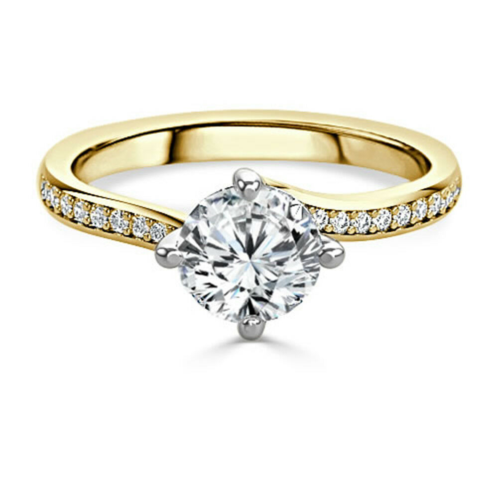 1.20 Ct Round Cut Moissanite Wedding Ring 14K Solid Yellow gold