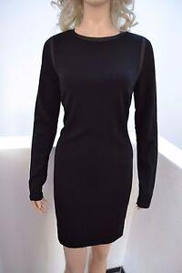 38 Schwarz Wolford Denise Mix Viskose Black Dress Kleid pSFzq