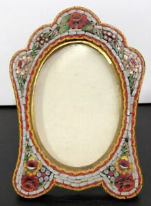 ANTIQUE-VINTAGE-ITALIAN-MICRO-MOSAIC-PICTURE-FRAME-W-FOLDING-EASEL-BACK-ITALY