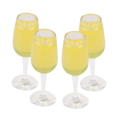 4Pcs 1:12 dollhouse miniature toy accessories juice cup champagne cup OJ FD