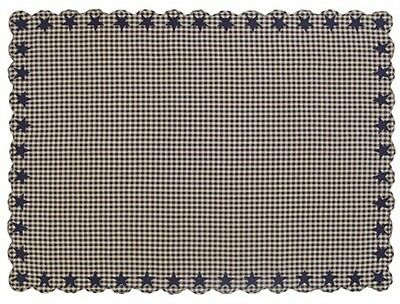TABLE CLOTH 60X80 DARK NAVY STAR COTTON PRIMITIVE COUNTRY CHECK SIZE 1/2 IN