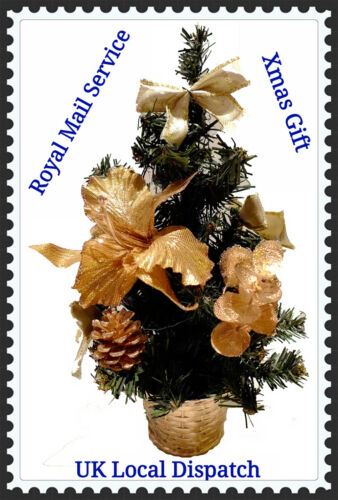 1 ft mini feuilles dorées Décoration de Noël Arbre de Noel de bureau 25 cm table top environ 0.30 m