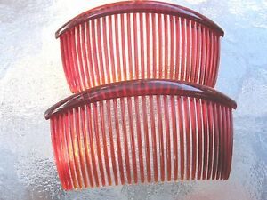 """Shell Red Curved Back Side Comb 4 1/2"""" Limited Color Good Hair Days in USA # 203"""