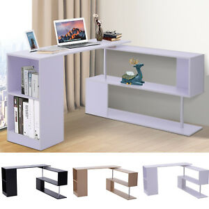 Rotating Corner Desk And Storage Shelf