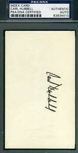 Carl Hubbell Psa Dna Autograph  3x5 Index Card Authentic Hand Signed