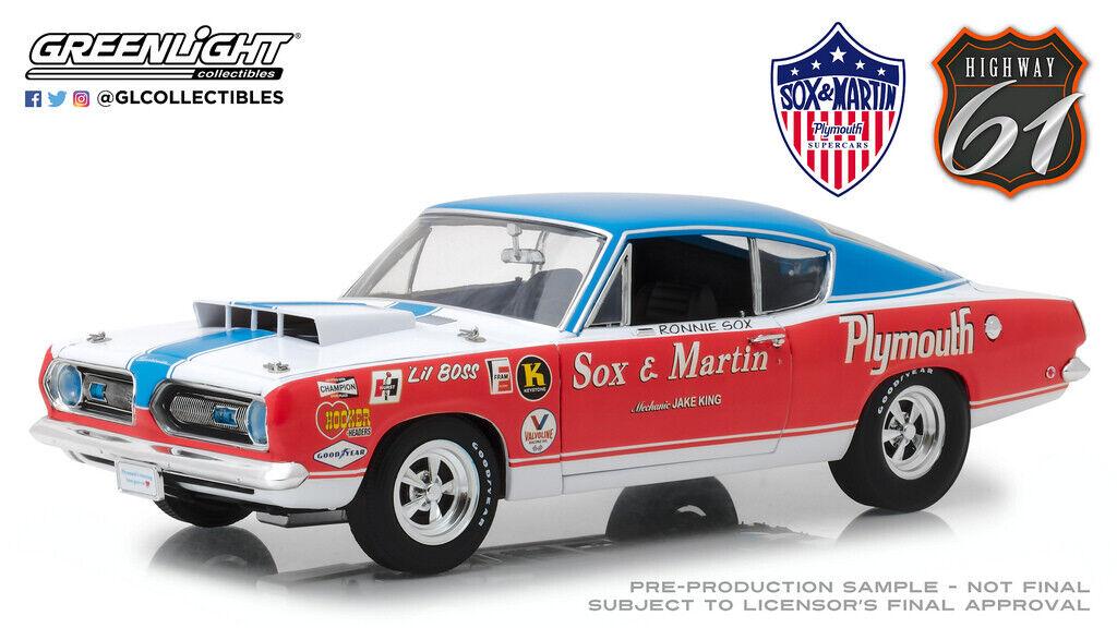 elige tu favorito Highway 61 1 18 SOX y y y MARTIN 1968 Plymouth Barracuda Diecast Coche HWY-18003  ¡No dudes! ¡Compra ahora!