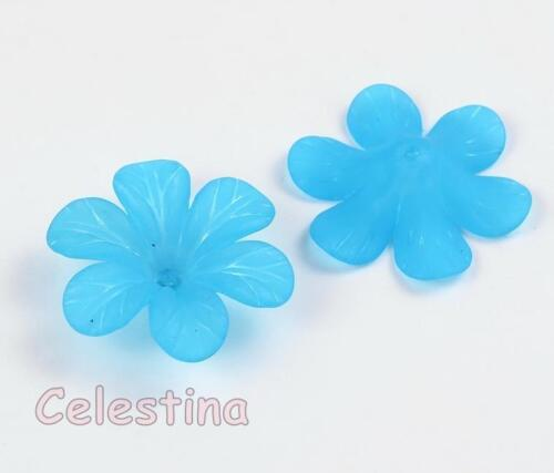Cup Bells Daisy PB94 20 x Aqua Blue Lucite 8 x 33mm Frosted Flower Beads