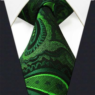 S18 Mens Necktie Tie Paisley Green Extra Long Size 100% Silk Classic Fashion New
