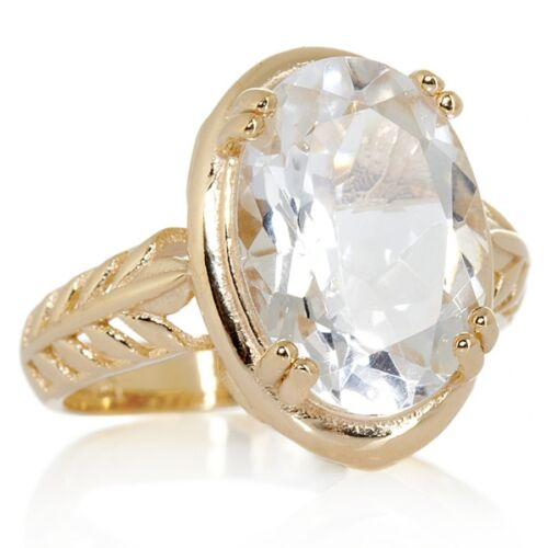 Technibond Oval Gemstone Foliage Ring 14K Yellow Gold Clad Sterling Silver 925