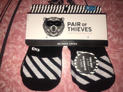 Pair Of Thieves ~ NWT Youth Kids 6-Pair No Show Socks Black ~ M 4-8 Years