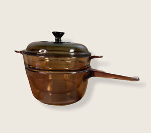 Visions Double Boiler Pot Pan 3 Pc 1.5 L V20B w/ Lid Amber Cookware Pyrex