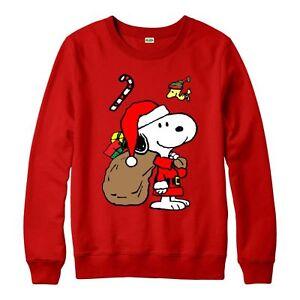 Snoopy-Christmas-Jumper-Snoopy-Santa-Xmas-Festive-Gift-Adult-amp-Kids-Jumper-Top