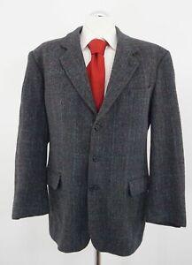 Harris Tweed Sakko Gr.52 blau kariert Einreiher 3-Knopf Wolle -C223