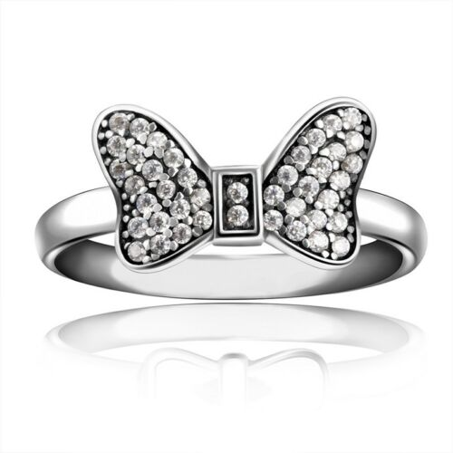 Size 5 9 Fashion Wedding Rings Gift For Lady Genuine 925 Silver Jewelry 7 Cute Minnie Bow Ring