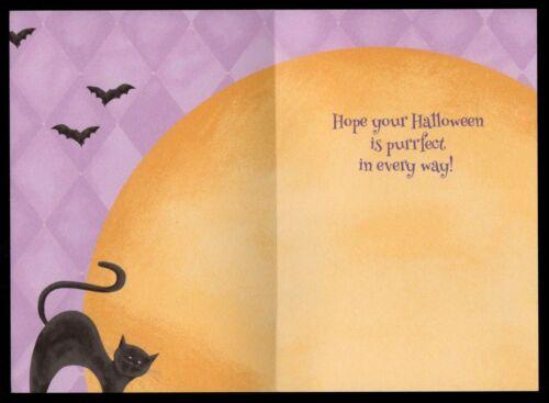Halloween Black Cat Kitten Tail Pumpkin Moon Bats Greeting Card New W// TRACKING