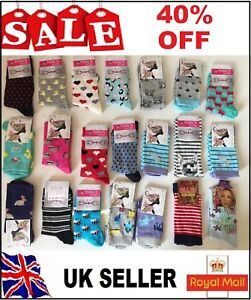 50 pairs luxury ladies women/'s coloured design socks cotton blend size 4-7  BVGF