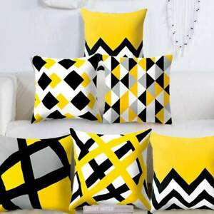 18-034-Geometric-Yellow-Polyester-Pillow-Case-Sofa-Car-Waist-Throw-Cushion-Cover-UK