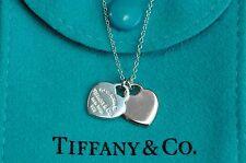 """Tiffany & co. 92.5% Silver & RubedoMetal Mini Double Heart Pendant 15.6""""Necklace"""