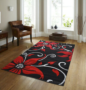 Image Is Loading Luxury Red Black Glamour Fl Modern Rugs Carpets