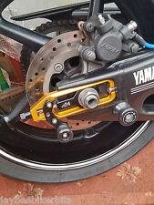 YAMAHA YZF R1 2007-2008 CNC CHAIN ADJUSTER WITH PADDOCK BOBBIN GOLD BLACK R13B1