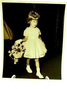 The Flower Girl Adorable Black & White Photo 1960's