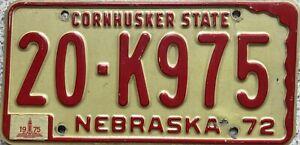 1972-Nebraska-Cornhusker-State-American-License-Licence-Number-Plate-Tag-20-K975