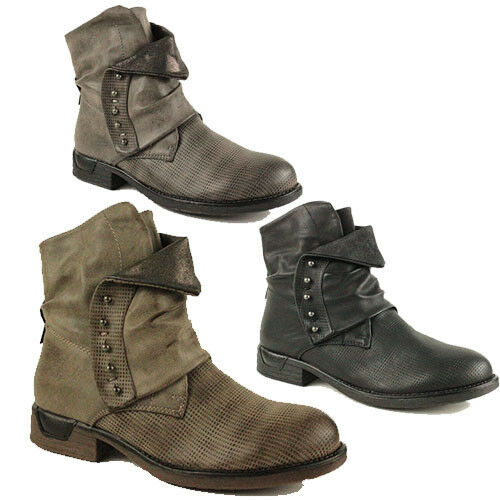 WOMENS CASUAL MILITARY COMBAT SLOUCH ARMY BIKER ANKLE LADIES BOOTS NEW SIZE 3-8