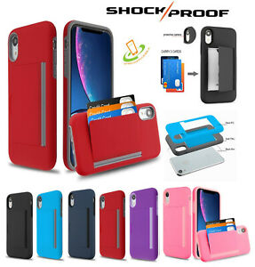 For-iPhone-Xs-Max-XR-X-Wallet-Case-3-Cards-Holder-Rubber-Protective-Hybrid-Cover