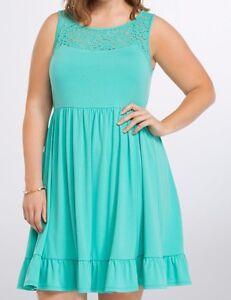 a72e176c551 Torrid Lace Seafoam Green Lace Inset Sundress Dress 00X Med Large 10 ...